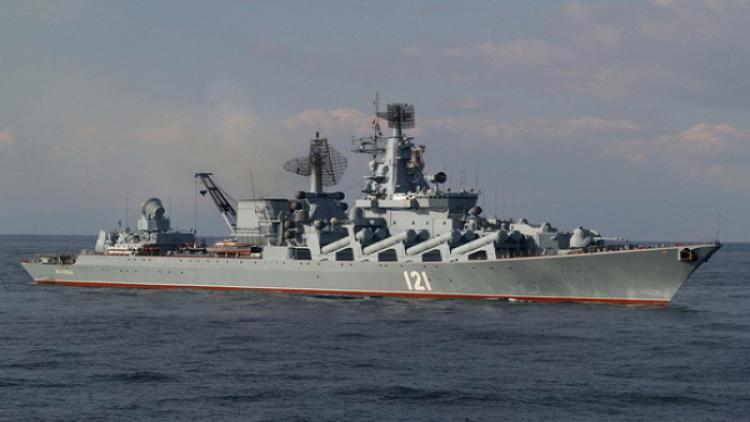 Нафлагмане Черноморского флота гвардейском ракетном крейсере «Москва» прошло учение поборьбе заживучесть